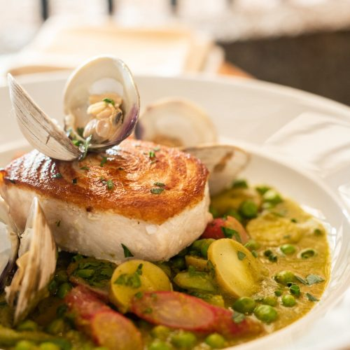 Block-Island-swordfish-with-littleneck-clams_-pork-belly_-salsa-verde_-fingerling-potato-and-radish-scaled